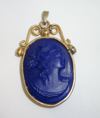 Antique Edwardian Blue Glass Gold Filled Cameo Pendant