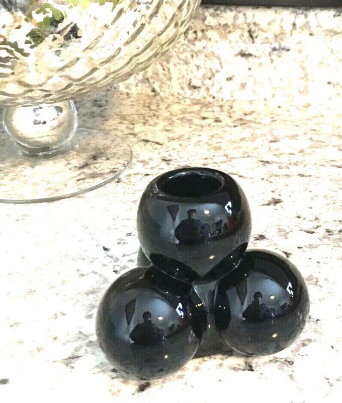 MCM BLACKWestmoreland Glass Della Robbia STACKED BallS Candlestick Candle Holder