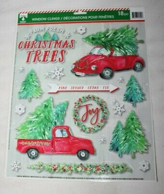Christmas Window Clings RED TRUCK & CAR WITH TREES SNOWFLAKES