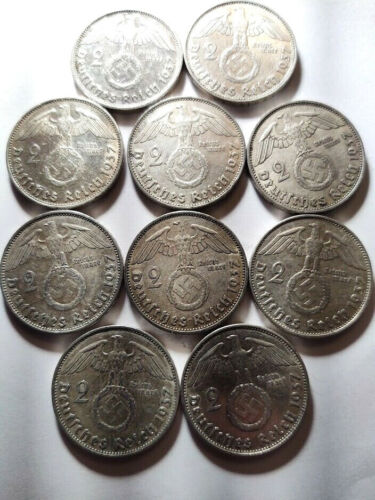 Lot of 10 Silver 1937 Nazi Germany Coins - 2 Marks - 62.5% Fineness, Swastikas