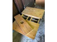 Antique Pine Childs Craft Table with movable centre section, to store pens, craft materials etc