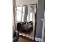 Large Silver Antique Style Wall Mirror 6ft7 x 4ft7 (200cm x 140cm)