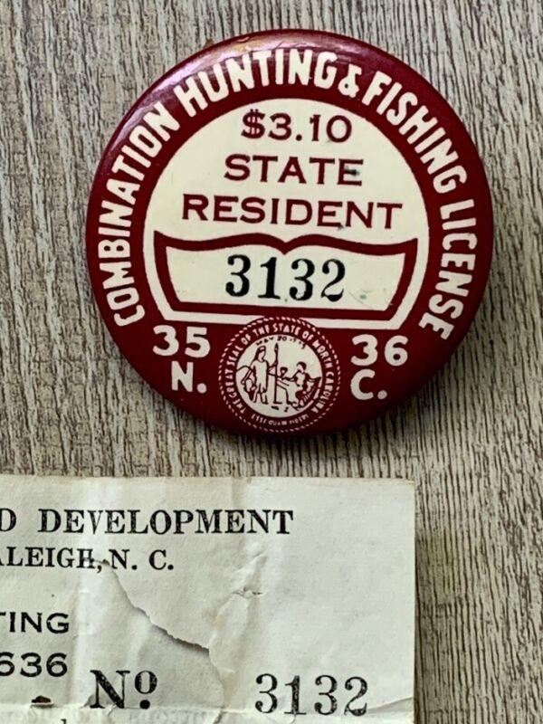 1935-1936 North Carolina Combination Hunting Fishing License Badge Pin Back