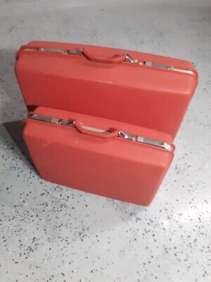 Samsonite Montbellow II Red Suitcase Luggage Set Hard Case Vintage Rare 1970s