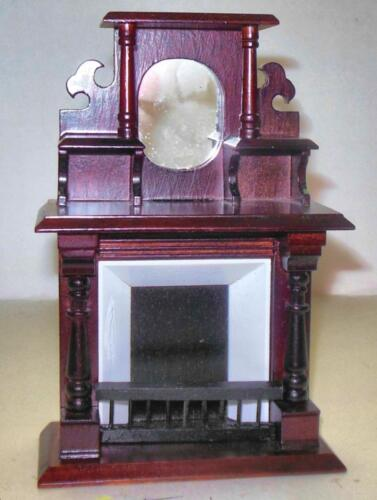 VINTAGE VICTORIAN FIREPLACE MAHOGANY #4192 DOLLHOUSE FURNITURE MINIATURES