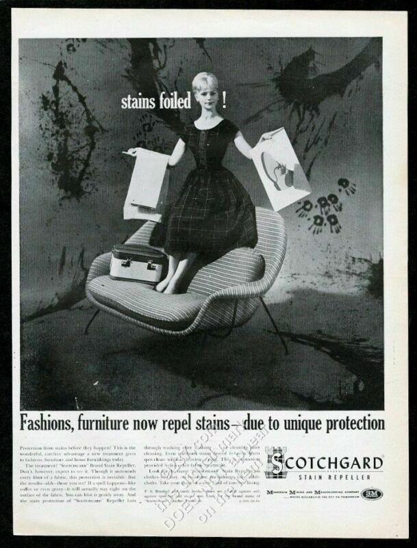 1960 Eero Saarinen modern loveseat photo 3M Scotchgard vintage print ad