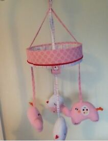 Red kite pink cot mobile