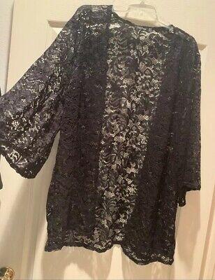 Boohoo Plus Size 20 Black Lace Kimono Cardigan Plus Size