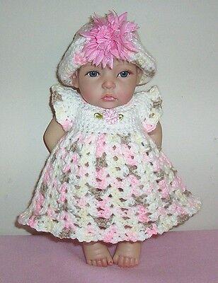 "Berenguer/Ashton Doll Crochet Pink Brown Dress & Hat Fits 10-11"" Doll Clothes"