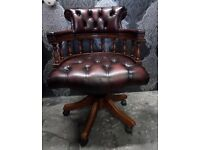 Stunning Chesterfield Captains Chair Office Desk Chair Oxblood Red Leather Possible Delivery
