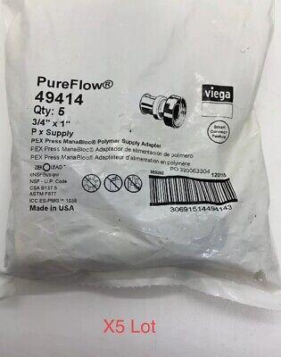 X5 Lot 34 X 1 Pex Press Supply Adapter Viega Pureflow Manabloc Minibloc 49414