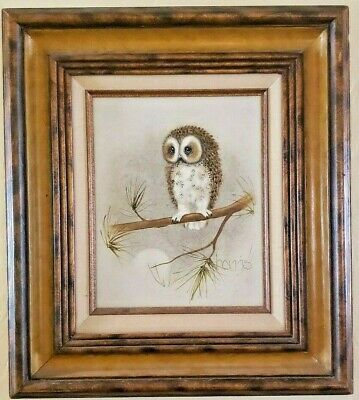 "Vintage 1980 Wood Framed Canvas Owl Painting Signed Harris Titled ""Tough Stuff"""