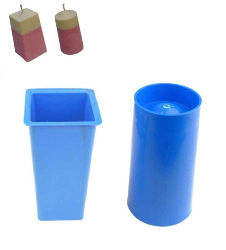 Set x 2, Square Top Rectangular Tapered & Pillar Candle Moulds Molds. S7699