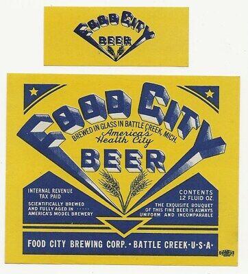 Food City Beer label with neck IRTP Battle Creek MI