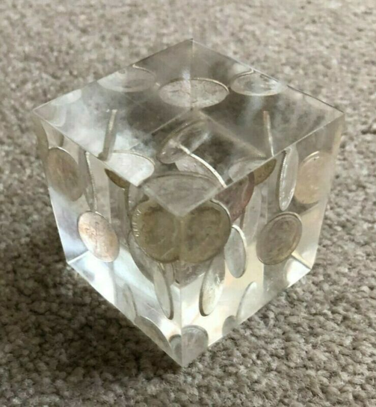 Vintage Lucite Paperweight with Ten Uncirculated 1964 Roosevelt Silver Dimes