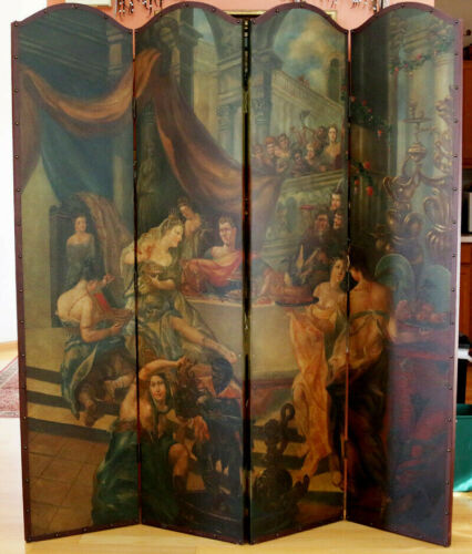 Vintage Antique Four Panel Leather Original Oil Painted Screen Or Room Divider