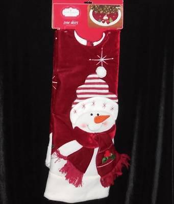 """Snowman Christmas Tree Skirt Red Velveteen Fleece Edge~48""""~Trim a Home $24.99"""