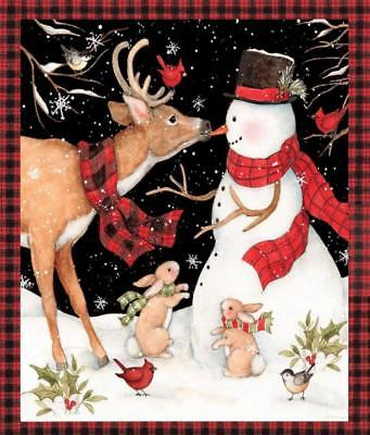 CHRISTMAS WINTER SNOWMAN WITH REINDEER COTTON FABRIC BY THE PANEL](Christmas Fabric)