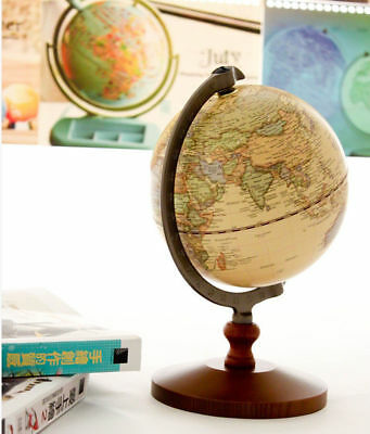 14cm Vintage Wood World Globe Educational Model Reference Home Decor Atlases Map