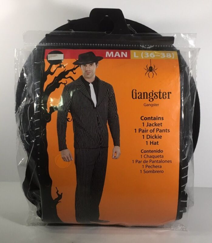 NEW Mens Adult Gangster Mobster Costume with Hat Size Large 36/38