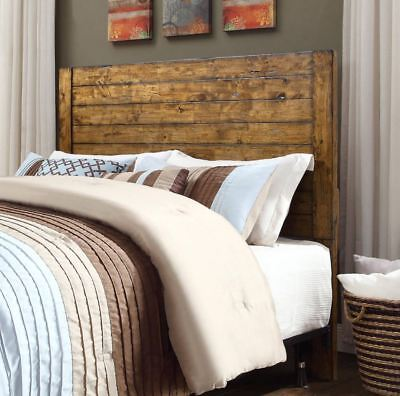 Full Queen Size Headboard Solid Wood Country Rustic Farmhouse Bedroom Furniture