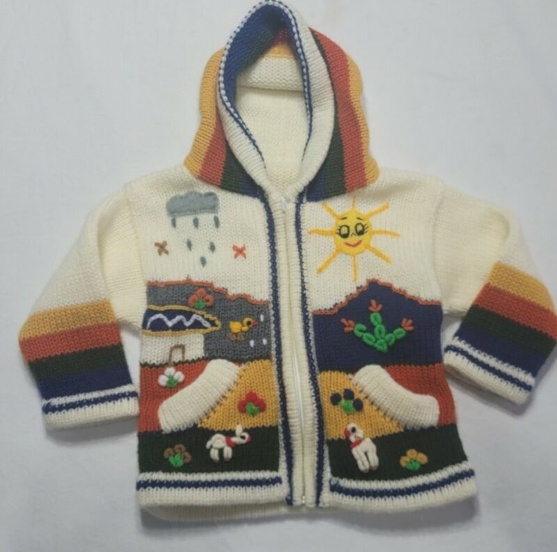 Infant/Toddler 12M Knit Zip Up Sweater Nutral Colors Sun Clouds Knit