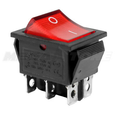 Dpdt On-on Rocker Switch Wred Neon Lamp Kcd2 16a250vac - Usa Seller