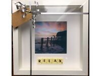 White Framed ; Relax Scrabble Picture