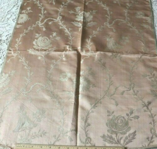 """French Antique C1880 Woven Peach Silk Lampas Fabric~Floral Frame,Ribbons~30""""X21"""""""