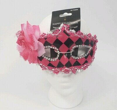 Pink Halloween Party (Halloween Costume Pink Black Checkered Mask Masquerade Mardi Gras Party)