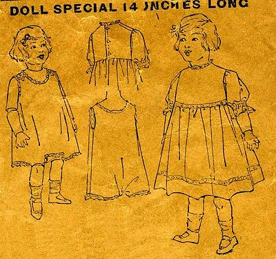 1908 Antique Sewing Pattern with Dress & Combination Undies 14 Inch Doll # 141