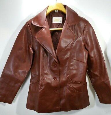 Vtg Womens Jacket Fingerhut Fashions Faux Leather Vegan Chocolate Brown Sz 12