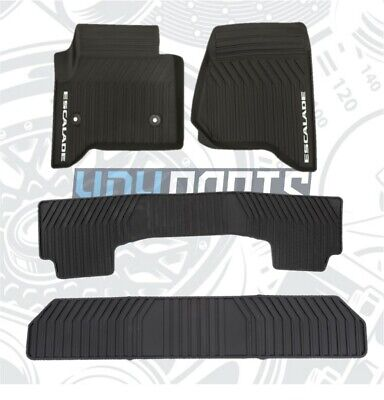 2015-2020 Cadillac Escalade Black Front Second Third Row Black All Weather Mats