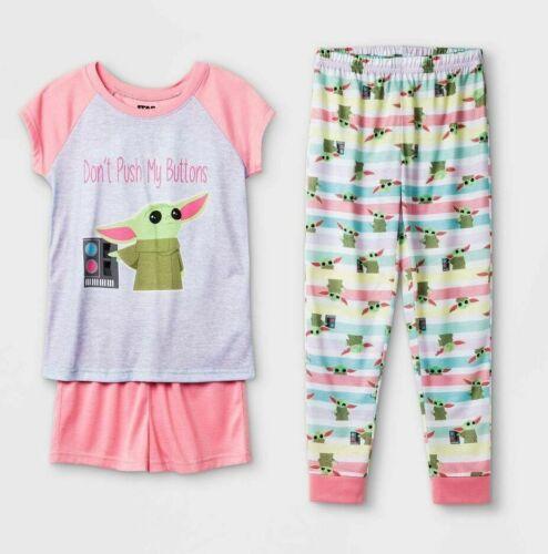 3PC Baby Yoda Pajamas Mandalorian Star Wars Girl Shirt Pants Short 4 5 6 8 10 12