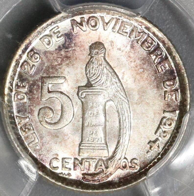 1945 PCGS MS 66+ Guatemala 5 Centavos Quetzal Bird Silver Coin (19063003C)