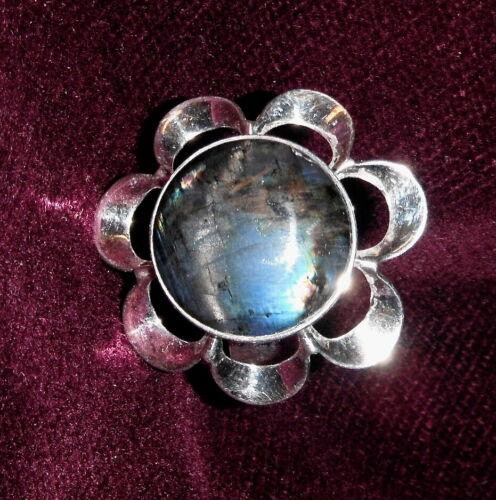 Sterling Silver/Spectrolite Modernist Ring Size 7 Made in Finland