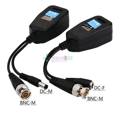 2 Pcs YP08 CCTV Coax BNC Connector Video Power Balun Transceiver to CAT5e 6 RJ45