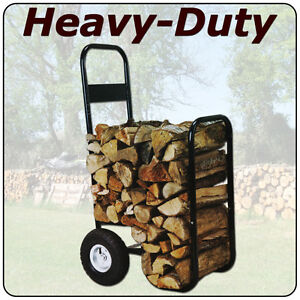 Details about large wheeled steel fire wood log carrier caddy cart