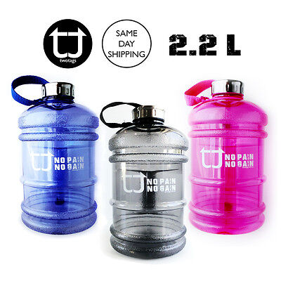 TWOTAGS 2.2L Water Bottle Shaker BPA FREE JUMBO DRINK WORKOUT GYM CYCLING SPORTS