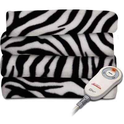 Sunbeam Black White ZEBRA EXTRA SOFT Heated Throw Blanket Fl
