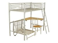 High rise bunk bed with desk for sale. Self collection only.
