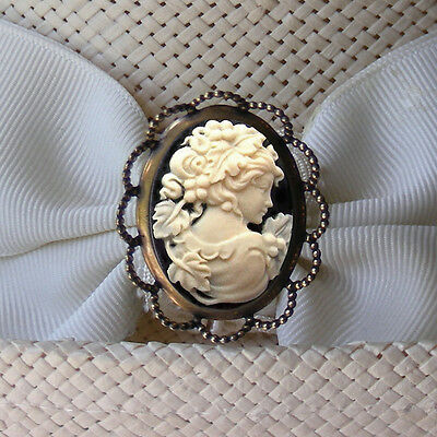 IVORY COLOR LADY ON BLACK CAMEO OLD BRASS FINISH HATPIN Cameo Brass Finish