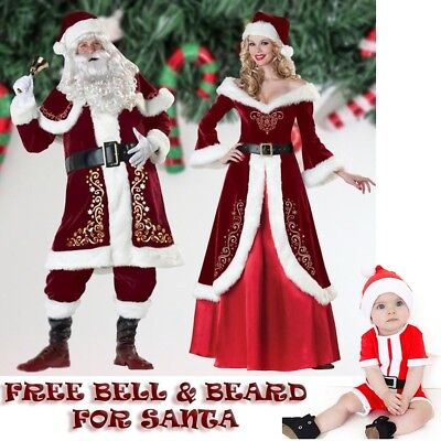Santa Claus Costume Couple Cosplay VERY HIGH QUALITY Clothes Woman Men Baby - High Quality Mens Costumes