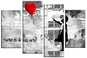 BANKSY GIRL WITH RED BALLOON CANVAS PICTURE RED GREY BLACK SPLIT WALL ART 100cm