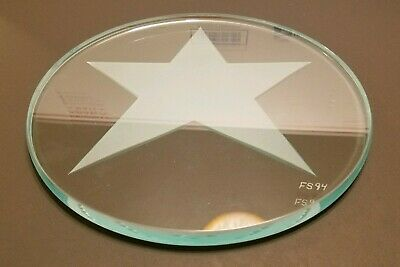 """RARE Hans Godo Fräbel Studios 9"""" Engraved Etched Frosted Art Glass Star Plate FS"""