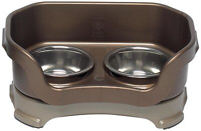 Neater Feeder Deluxe Small Dog (Bronze) - The Mess Proof Elevated Bowls No Slip