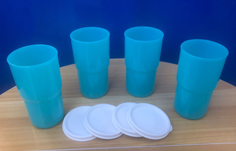 Tupperware Table Top Tumblers 12oz Small Rare Blue w/White Seal Set of 4