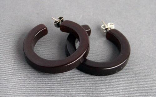 Pair Vintage Hoop Bakelite Earrings for pierced ears Dark Brown Color