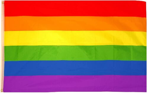 GAY PRIDE FLAG LARGE 5 x 3 ft TRANS COLOURFUL RAINBOW BANNER BRASS EYELETS LGBT+