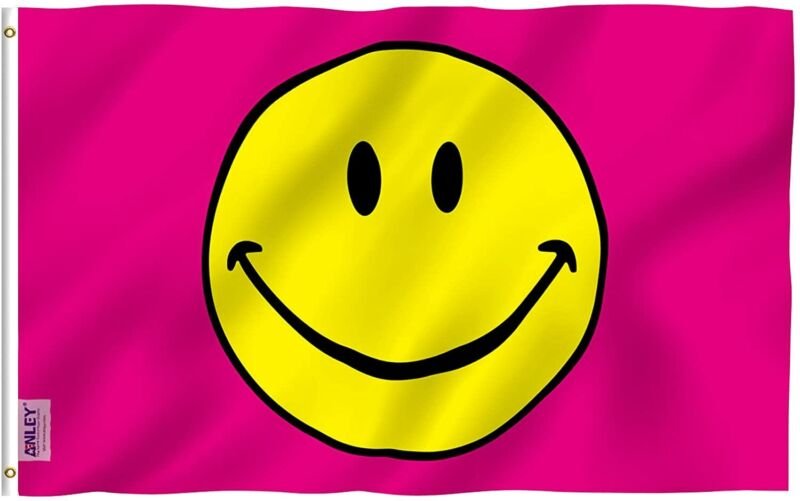 Anley Fly Breeze 3x5 Feet Pink Smiley Face Flag - Happy Face Flags Polyester